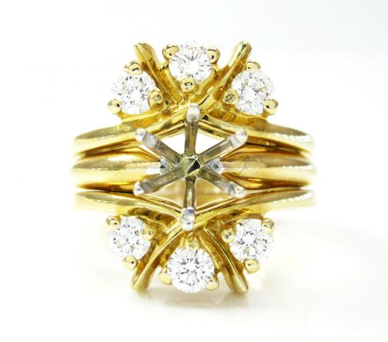 Ladies 14k Yellow Gold Fancy Semi Mount Ring 0.60ct