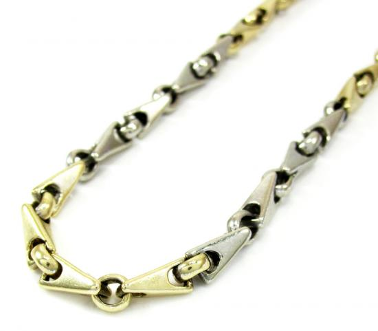 10k Two Tone Gold Fancy Bullet Link Chain 31 Inch 4.3mm