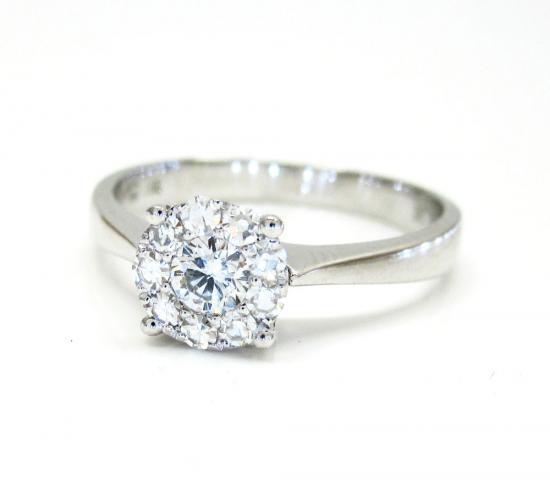 Ladies 18k White Gold Halo Diamond Engagement Ring 0.32ct