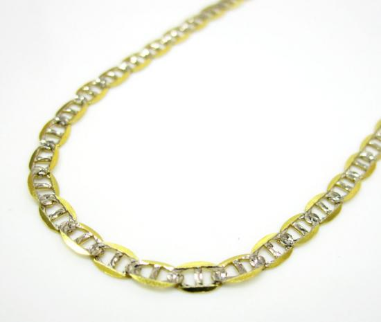 10k Yellow Gold Solid Skinny Diamond Cut Mariner Link Chain 16-26 Inch 2.5mm