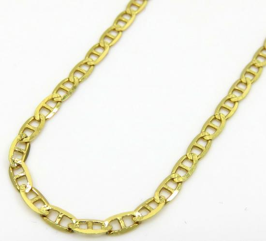 10k Yellow Gold Solid Diamond Cut Mariner Link Chain 24 Inch 2mm