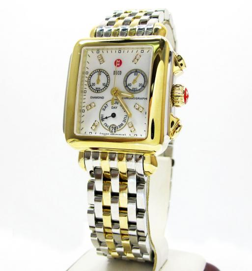 Ladies Michele Deco Day Diamond Two Tone Stainless Steel Watch 0.05ct