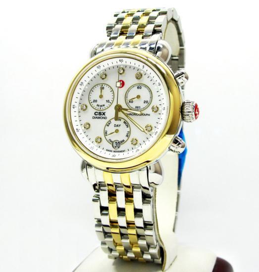 Ladies Michele Signature Csx-36 Diamond Two Tone Stainless Steel Watch 0.04ct