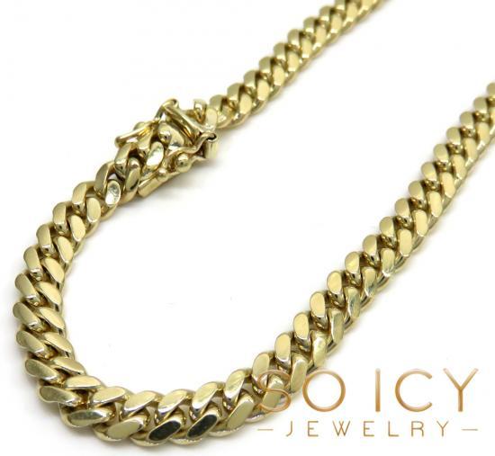 10k Yellow Gold Miami Chain 20-32 Inch 5.2mm