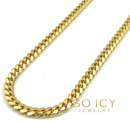 10k Yellow Gold Solid Skinny Miami Chain 16-30' Inch 2.5mm