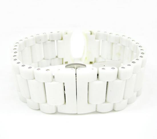 Womens Multi Link White Ceramic Kc Watch Band