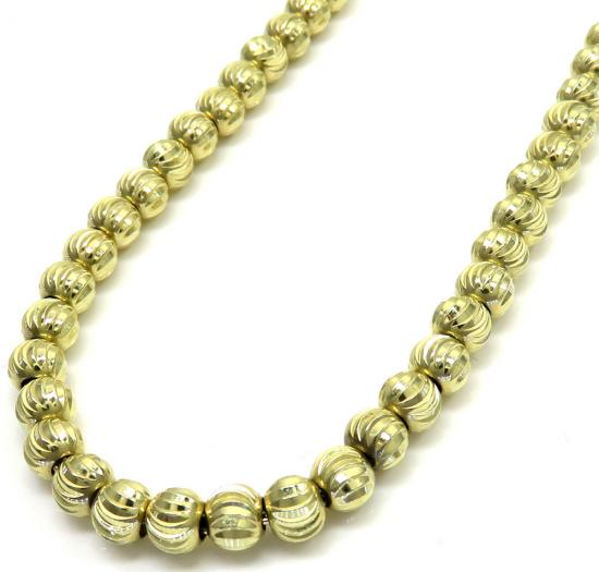10k Yellow Gold Moon Cut Bead Link Chain 26-40 Inch 5mm