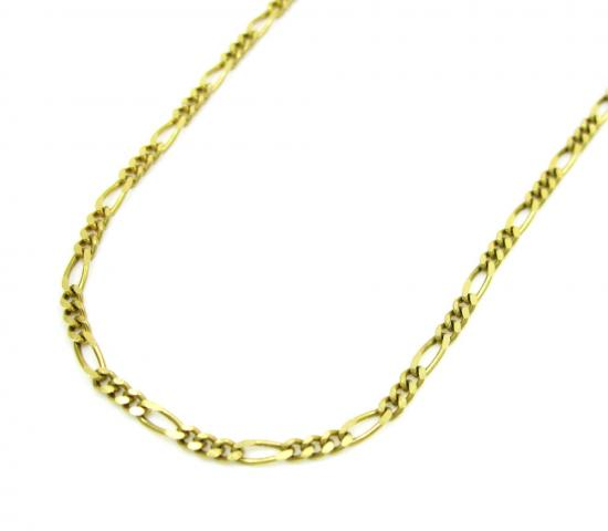 10k Yellow Gold Solid Figaro Link Chain 16-22 Inch 1.5mm