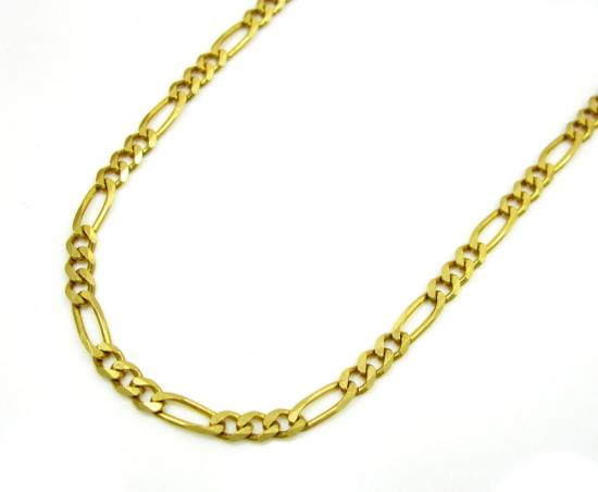 10k Yellow Gold Solid Figaro Link Chain 18-20 Inch 2.2mm