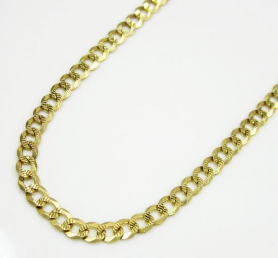 10k Yellow Gold Diamond Cut Cuban Link Chain 24-26 Inch 2.6mm