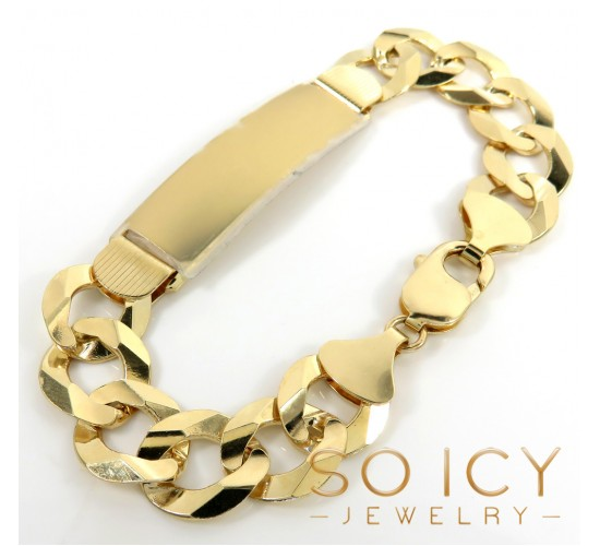 14k Yellow Gold Thick Cuban Id Bracelet 9.5 Inch 12.2mm