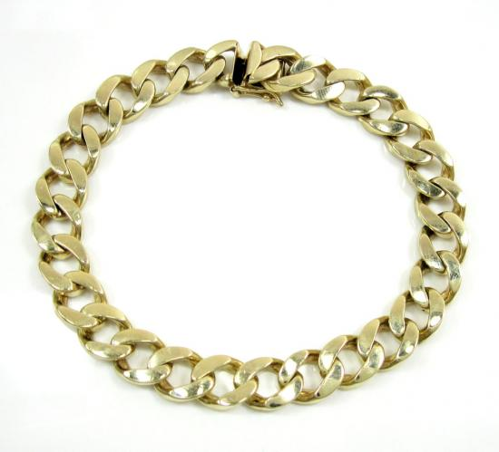 14k Yellow Gold Thick Cuban Bracelet 9 Inch 9.5mm