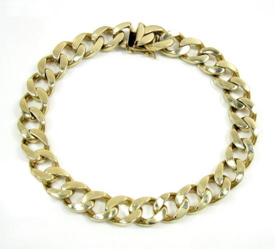 14k Yellow Gold Thick Cuban Bracelet 9 Inch 9.5mm