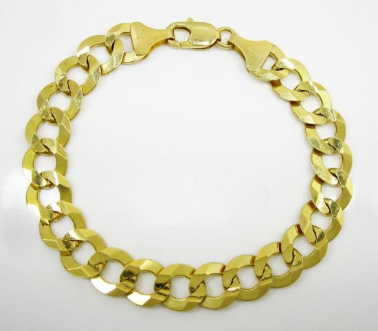 14k Yellow Gold Thick Cuban Bracelet 9 Inch 11.5mm