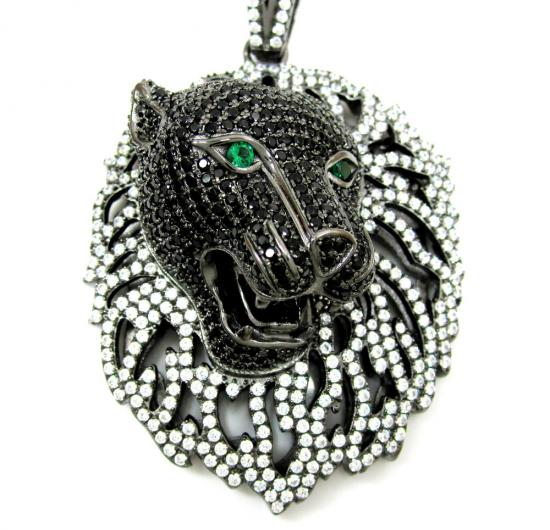Black Sterling Silver Lion Face Cz Pendant With Chain 4.00ct