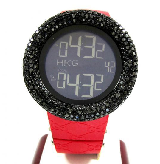 Mens Black Diamond Igucci Digital Big Bezel Watch 4.00ct