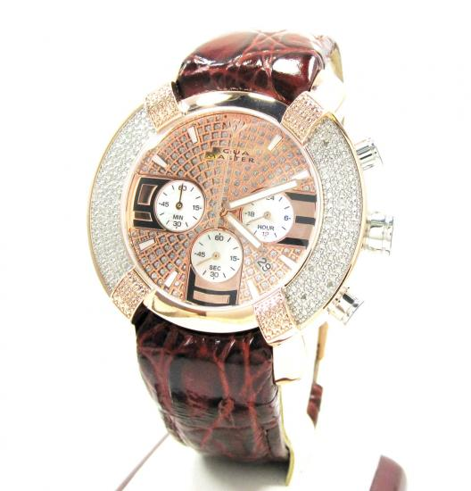 Mens Aqua Master Rose Stainless Steel Diamond Watch 0.20ct