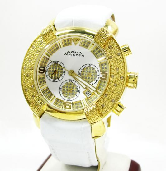Mens Aqua Master Yellow Stainless Steel Diamond Watch 0.20ct