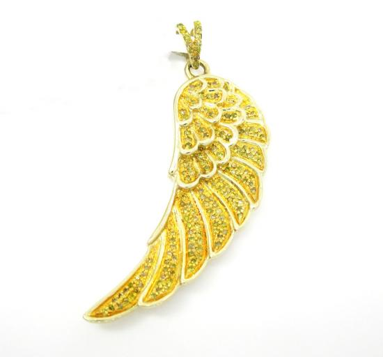 10k Yellow Gold Canary Diamond Angel Wing Pendant 0.45ct