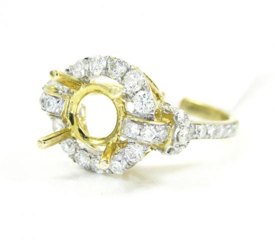 1.00ct 14k Yellow Gold Diamond 'pave Semi Mount Ring'