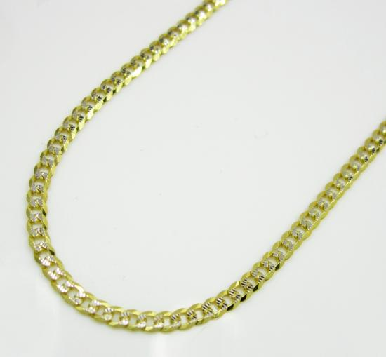 10k Yellow Gold Diamond Cut Cuban Chain 16-20 Inch 2mm