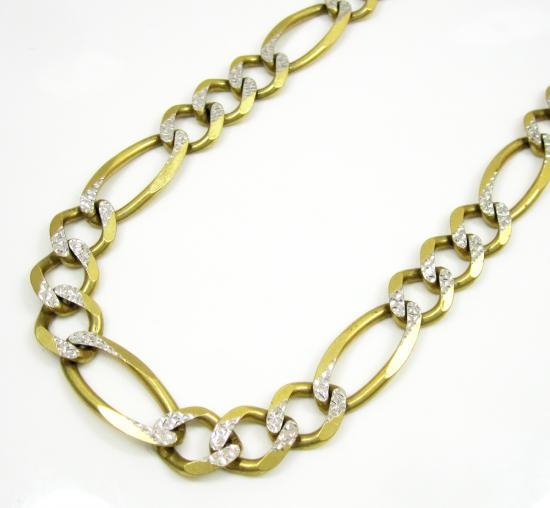 10k Yellow Gold Diamond Cut Figaro Chain 36 Inch 9.5mm