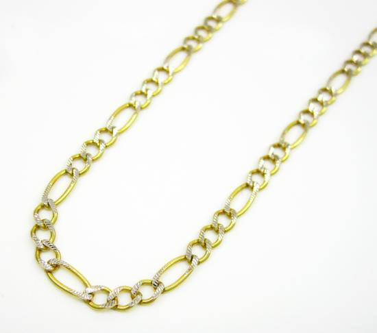10k Yellow Gold Diamond Cut Figaro Chain 18-26 Inch 2.7mm