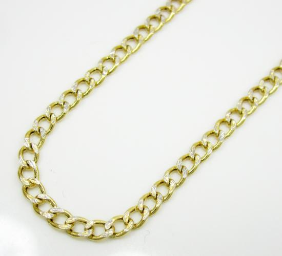 10k Yellow Gold Diamond Cut Cuban Chain 18-22 Inch 2.5mm