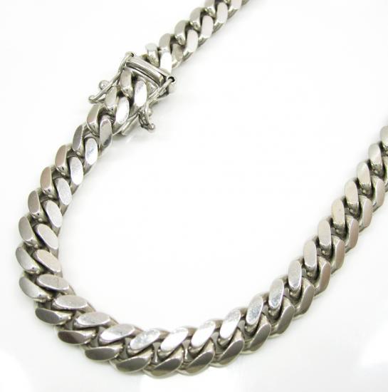 14k White Gold Solid Miami Bracelet 7.75 Inch 6mm