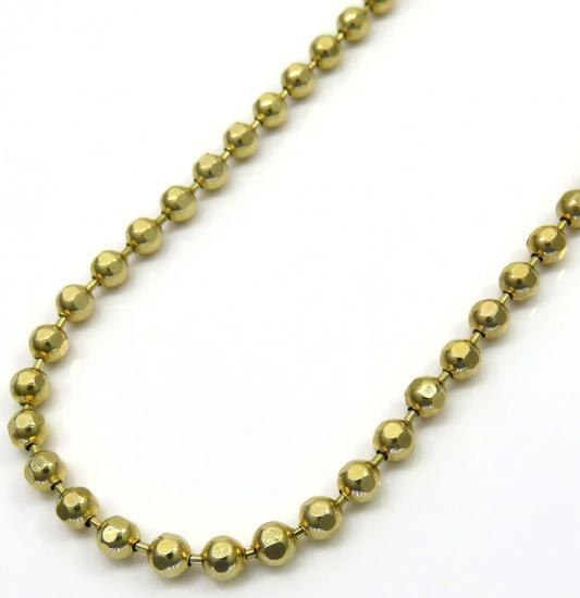10k Yellow Gold Hexagon Cut Ball Chain 24 Inch 2.8mm
