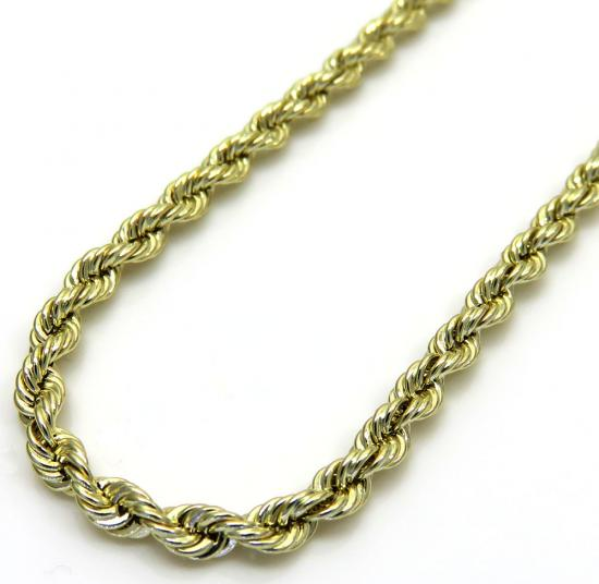 10k Yellow Gold Rope Smooth Link Chain 16-24 Inch 2mm