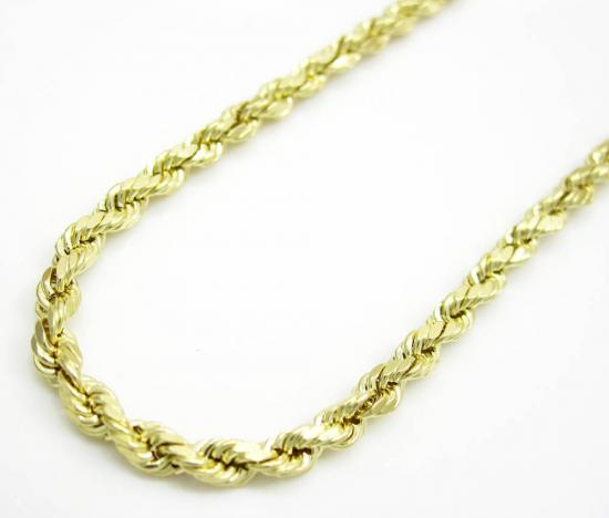 10k Yellow Gold Skinny Diamond Cut Rope Chain 16-20 Inch 2.10mm