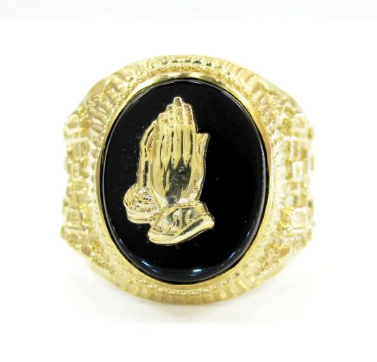 Mens 10k Yellow Gold Praising Hands Ring