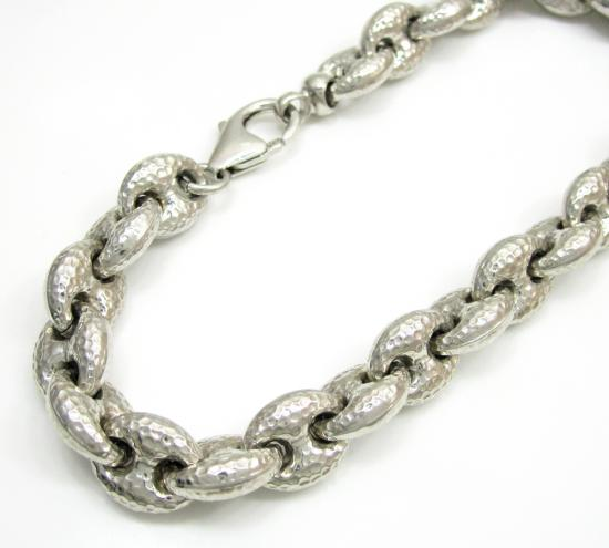 925 Sterling Silver Hammered Gucci Link Bracelet 9.25 Inch 9.7mm