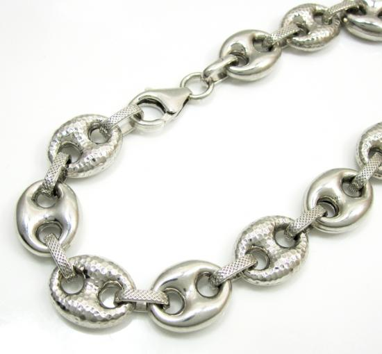 925 Sterling Silver Hammered Gucci Link Bracelet 9 Inch 12mm