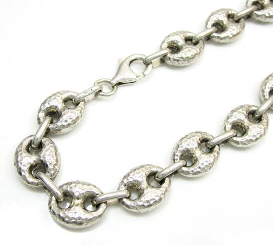 925 Sterling Silver Hammered Gucci Link Bracelet 7.5 Inch 9.7mm