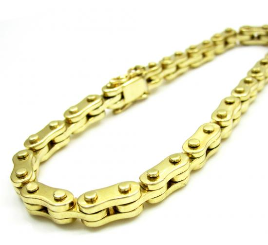 14k Yellow Gold Solid Bicycle Chain Bracelet 8.25 Inch 7.5mm