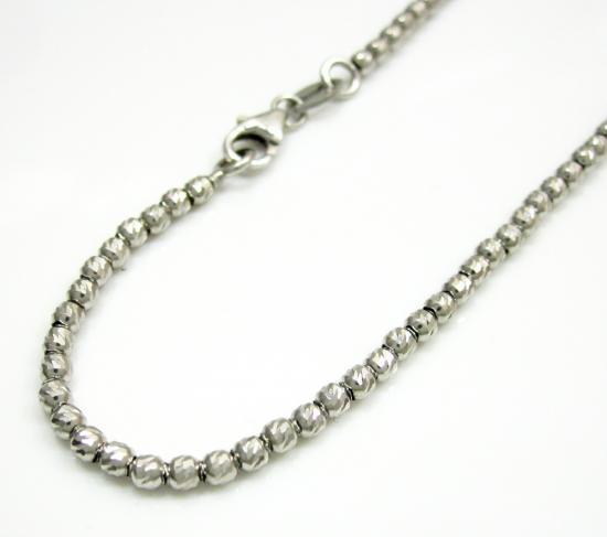 14k White Gold Diamond Cut Bead Bracelet 8 Inch 2mm