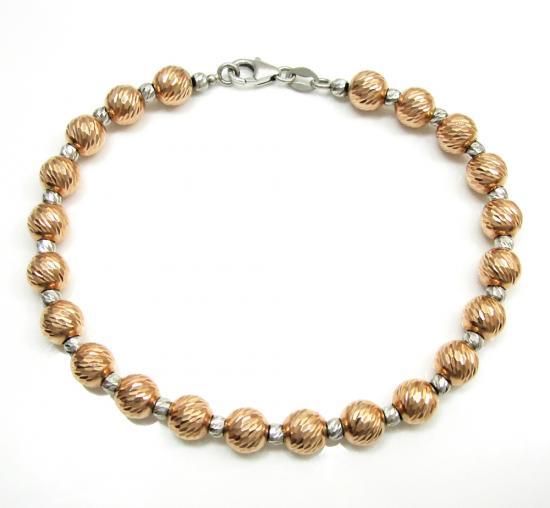 14k Rose & White Gold Diamond Cut Bead Bracelet 7.50 Inch 6mm