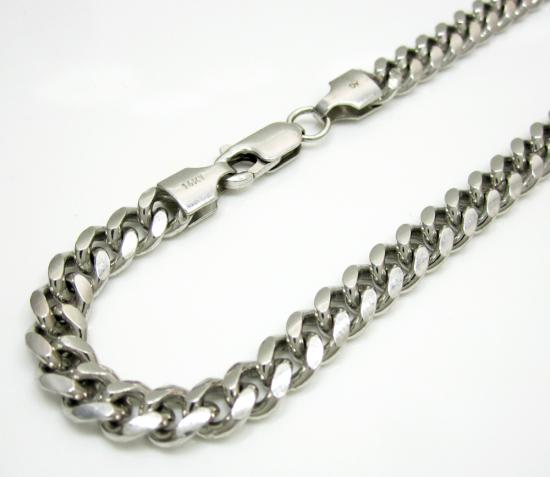 14k White Gold Solid Miami Bracelet 8 Inch 5.5mm