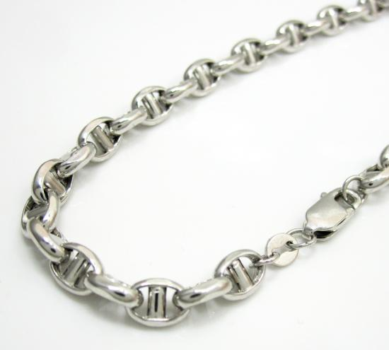 14k White Gold Gucci Puff Bracelet 7.50 Inch 5mm