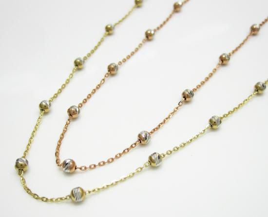 solid necklace italian g link beads gold chain pin with chains
