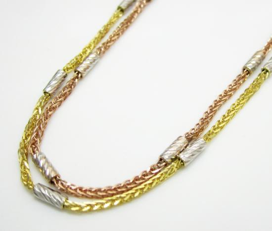 14k Gold Diamond Cut Wheat Link Chain 16-20 Inch 1.5mm