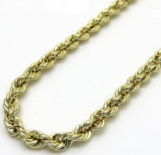 10k Yellow Gold Hollow Rope Chain 18-30 Inch 3mm
