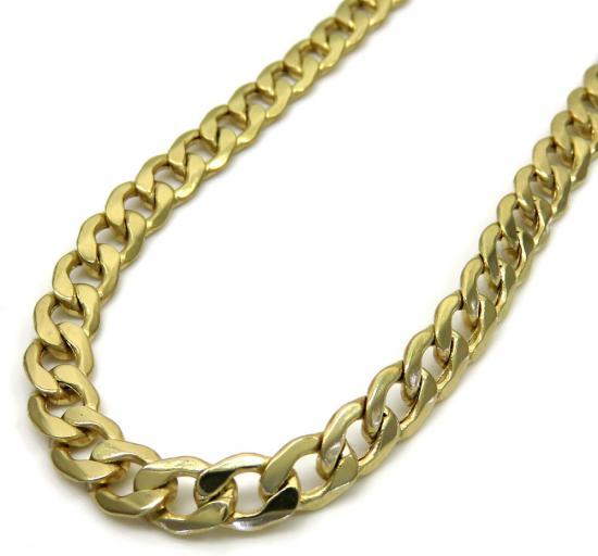 10k Yellow Gold Hollow Cuban Chain 20-26 Inch 5.20mm
