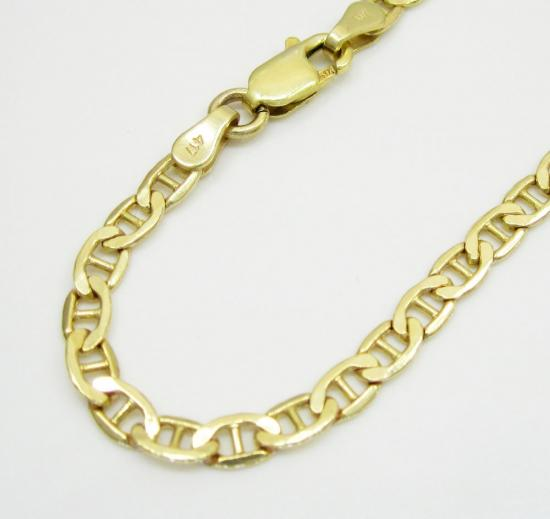 10k Yellow Gold Mariner Bracelet 8 Inch 3.5mm
