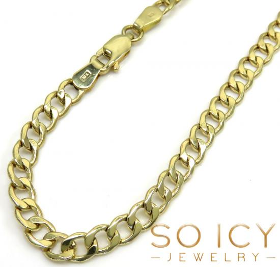 10k Yellow Gold Cuban Bracelet 8.5 Inch 4.3mm