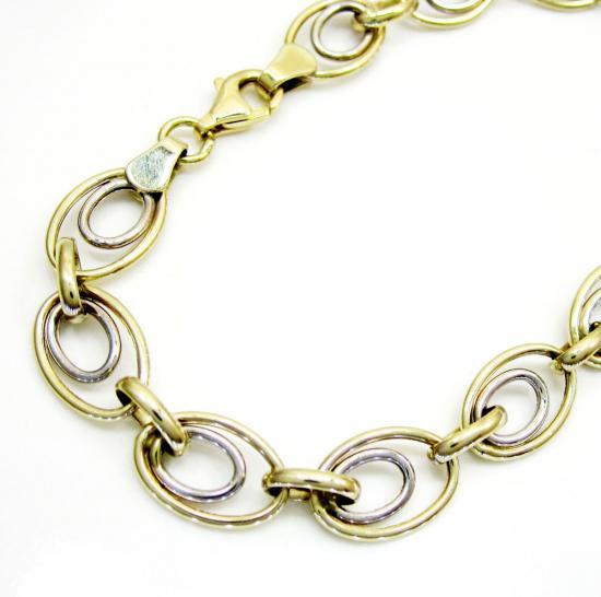 10k Yellow Gold Double Circle Bracelet 7.25 Inch 7.5mm