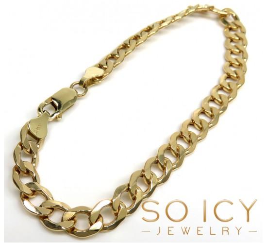 10k Yellow Gold Thick Cuban Bracelet 8.50 Inch 6.8mm