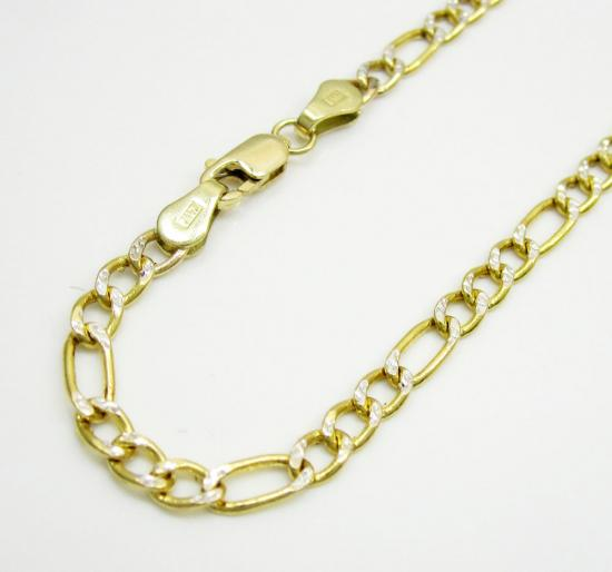 10k Yellow Gold Two Tone Diamond Cut Figaro Bracelet 8 Inch 3.3mm